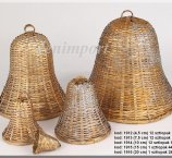BELL 20 CM RATTAN GOLD- SILVER