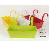 PLANTER METAL 28 CM - MIX  COLORS REMOVABLE HANDLES -WHITE COLOR NOT AVAILABLE