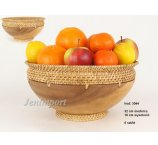 BOWL WOODEN ACACIA -RATTAN 31 CM BROWN