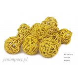 RATAN BALL 5 CM YELLOW 12 PC/PACK