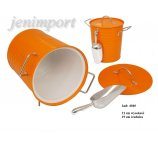 ICE COOLER WITH ZINC SPOON  21 cm H ORANGE COLOR