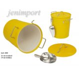 ICE COOLER WITH ZINC SPOON  21 cm H  YELLOW COLOR