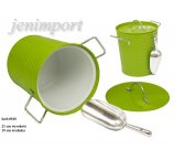 ICE COOLER WITH ZINC SPOON  21 cm H  GREEN COLOR