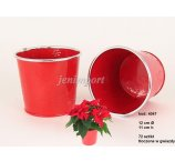 ZINC PLANTER 12 CM-D FOR POINSETTIA  RED