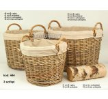 WILLOW BASKET FOR WOOD  S/3 60 CM -D