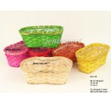 BAMBOO BASKET mix 5 colors 28 CM PEANUT 28 cm L x13 cm PINK, NATURAL NOT AVAILABLE