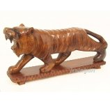 TIGER 76 CM ON BASE FROM EXOTIC WOOD